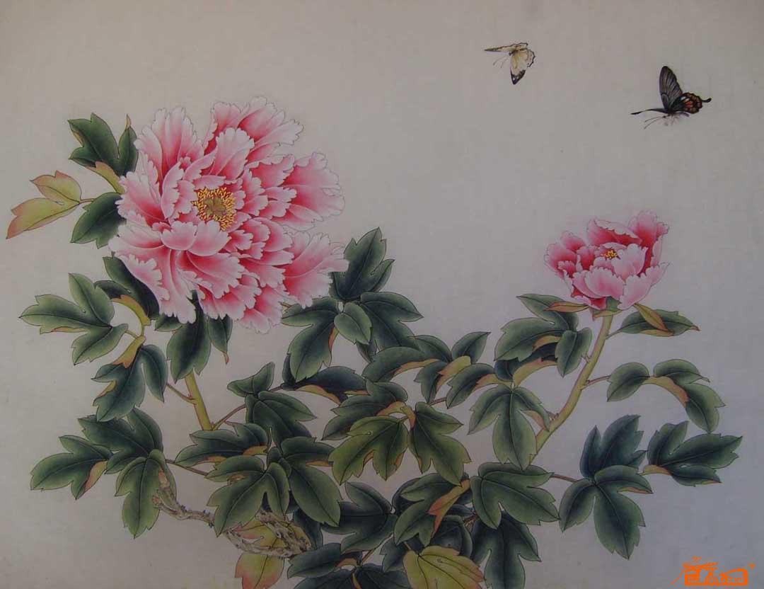 苏红艺-牡丹双蝶-淘宝-名人字画-中国书画服务中心